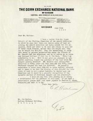 1922/06/30: C. L. Hutchinson to Joy Morton