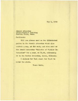 1922/05/02: [Joy Morton] to Arnold Arboretum