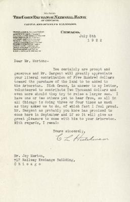 1922/07/05: C. L. Hutchinson to Joy Morton