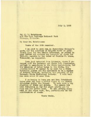 1922/07/03: Joy Morton to C. L. Hutchinson