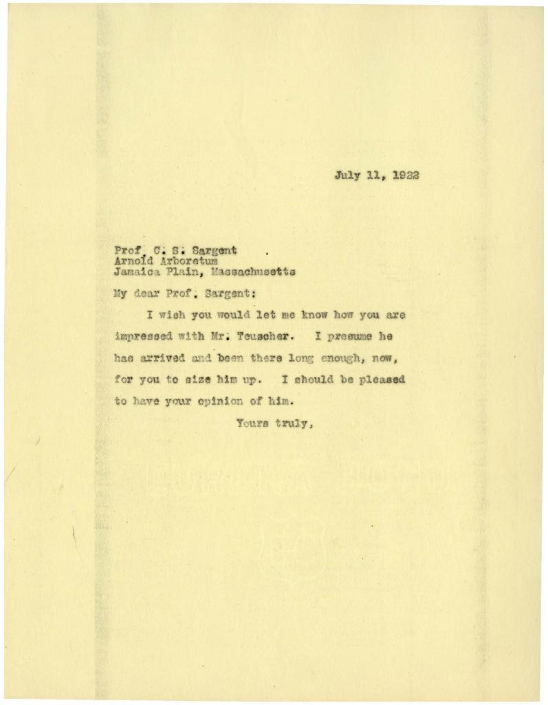 1922/07/11: [Joy Morton?] to C. S. Sargent