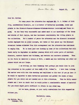 1922/08/29: C. S. Sargent to Joy Morton