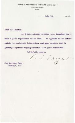 1922/07/13: C. S. Sargent to Joy Morton