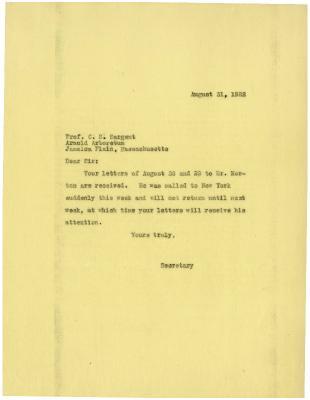 1922/08/31: Secretary to C. S. Sargent