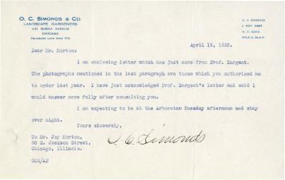1923/04/19: O. C. Simmonds to Joy Morton