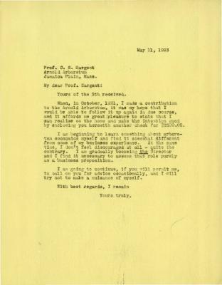 1923/05/11: Joy Morton to C. S. Sargent