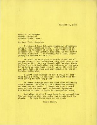 1923/10/04: Joy Morton to C. S. Sargent