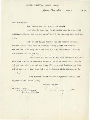1923/06/05: C. S. Sargent to Joy Morton