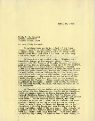 1923/04/18: Joy Morton to C. S. Sargent