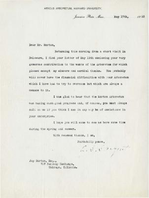 1923/05/17: C. S. Sargent to Joy Morton