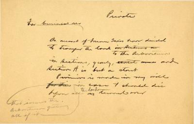 1920-1930: [Joy Morton] Private Business Note