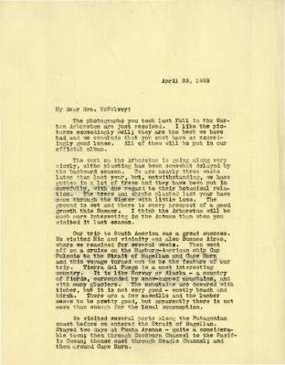 1923/04/23: Joy Morton to Susan Delano KcKalvey