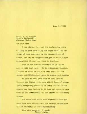 1923/06/01: Joy Morton to C. S. Sargent