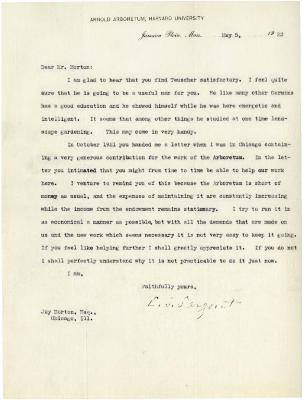 1923/05/05: C. S. Sargent to Joy Morton