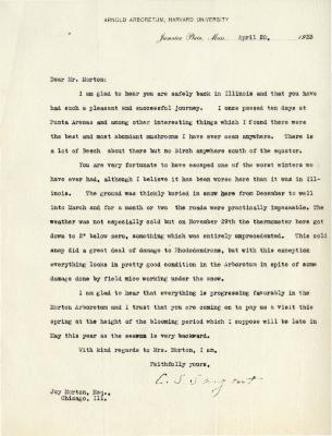 1923/04/20: C. S. Sargent to Joy Morton