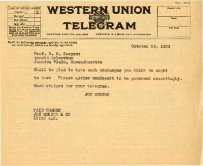 1923/10/23: Joy Morton to C. S. Sargent