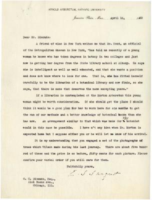 1923/04/16: C. S. Sargent to O. C. Simonds