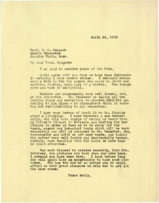 1923/04/24: Joy Morton to C. S. Sargent