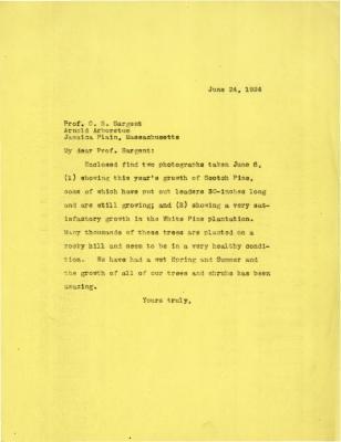 1924/06/24: Joy Morton to C. S. Sargent