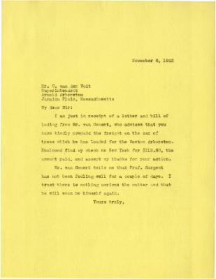 1923/11/06: [Joy Morton?] to C. van der Voit