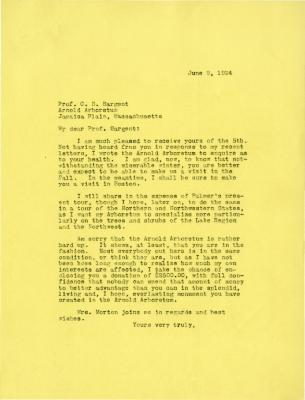 1924/06/09: Joy Morton to C. S. Sargent