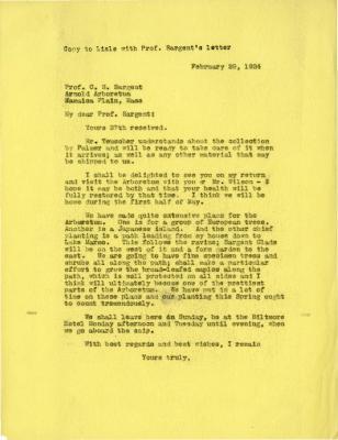 1924/02/29: Joy Morton to C. S. Sargent