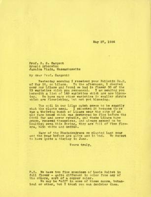 1924/05/27: Joy Morton to C. S. Sargent