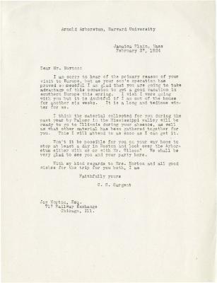 1924/02/27: C. S. Sargent to Joy Morton