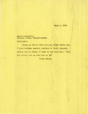 1924/06/06: Joy Morton to Arnold Arboretum