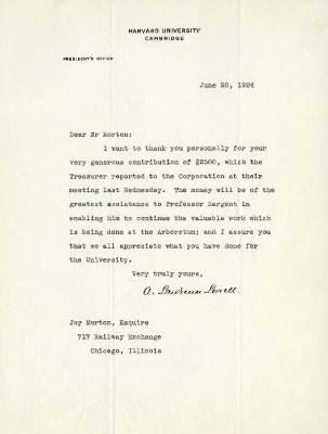 1924/06/20: A. Lawrence Lowell to Joy Morton