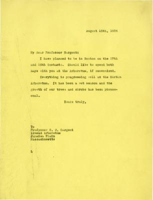 1924/08/15: Joy Morton to C. S. Sargent