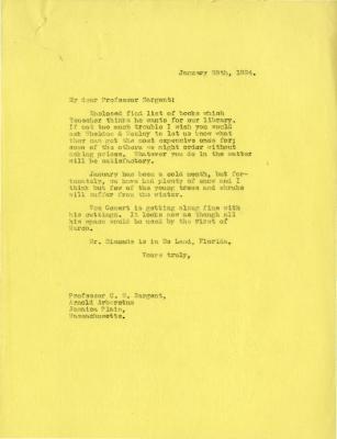 1924/01/28: Joy Morton to C. S. Sargent