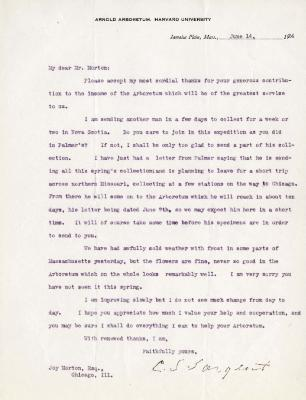1924/06/14: C. S. Sargent to Joy Morton