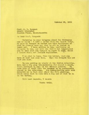 1923/10/25: Joy Morton to C. S. Sargent