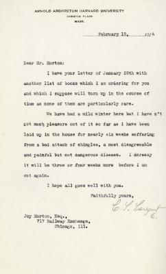 1924/02/19: C. S. Sargent to Joy Morton
