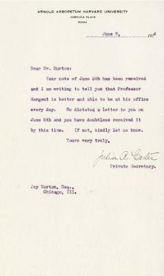 1924/06/09: Julia A. Carter to Joy Morton