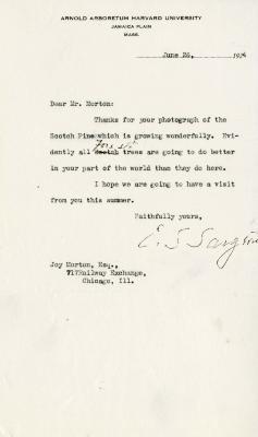 1924/06/26: C. S. Sargent to Joy Morton