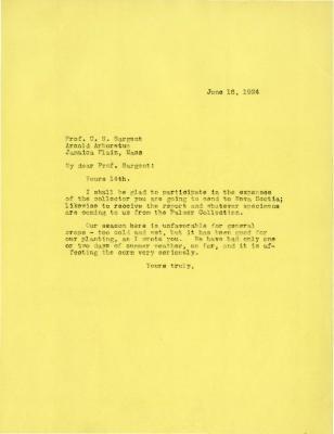 1924/06/16: Joy Morton to C. S. Sargent