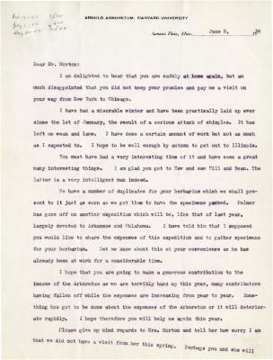 1924/06/05: C. S. Sargent to Joy Morton
