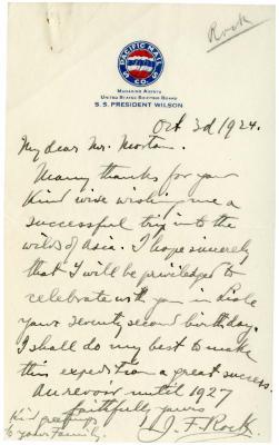 1924/10/03: J. F. Rock to Joy Morton