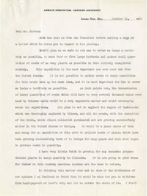 1924/10/11: C. S. Sargent to Joy Morton