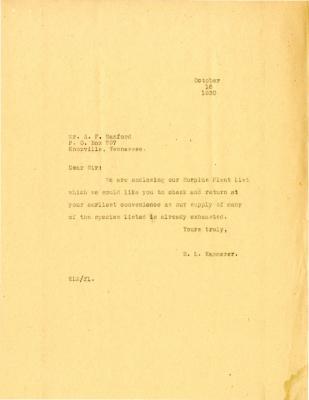 1930/10/16: E.L. Kammerer to A.F. Sanford