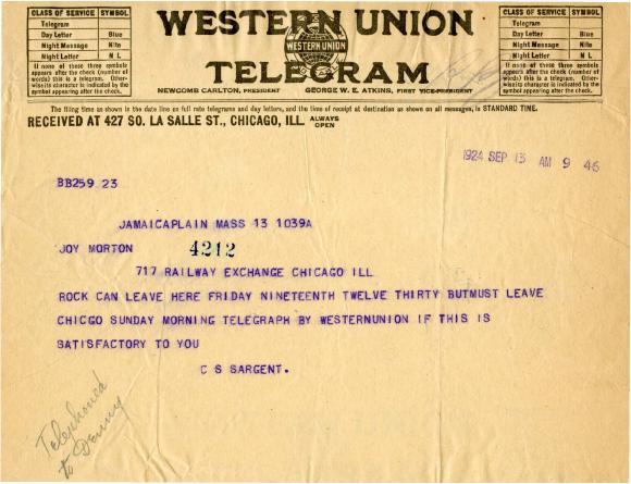 1924/09/13: C. S. Sargent to Joy Morton