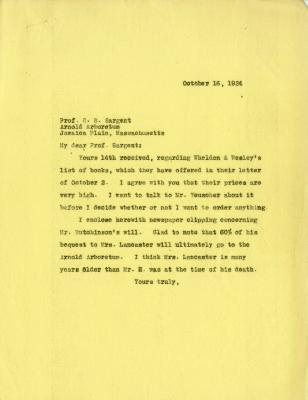 1924/10/16: Joy Morton to C. S. Sargent
