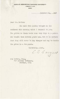 1924/10/14: C. S. Sargent to Joy Morton