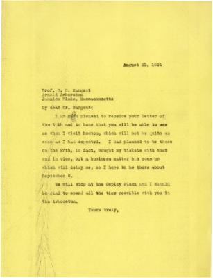 1924/08/22: Joy Morton to C. S. Sargent