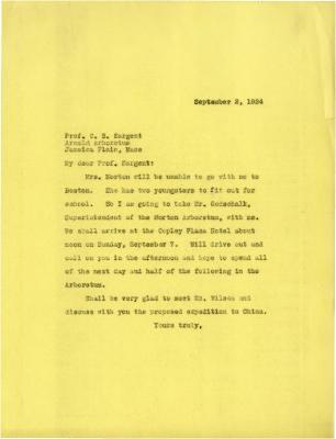 1924/09/02: Joy Morton to C. S. Sargent