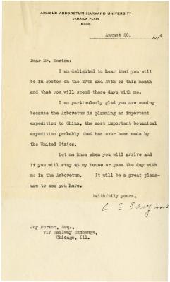 1924/08/20: C. S. Sargent to Joy Morton