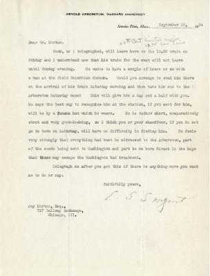1924/09/15: C. S. Sargent to Joy Morton