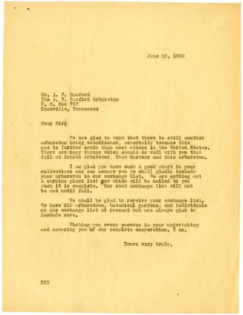 1930/06/23: [Staff of Morton Arboretum] to A.F. Sanford